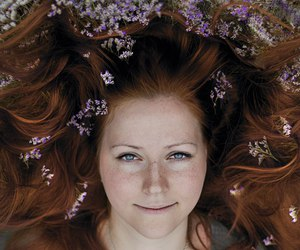 flowers, ginger, and girl image
