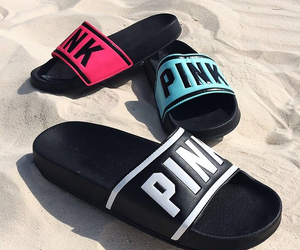 pink, beach, and shoes image