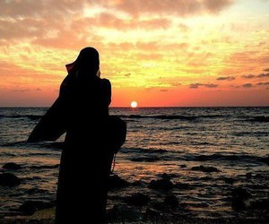 hijab, muslim, and sunset image
