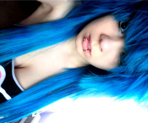 asian, blue, and blue hair image
