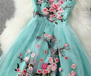 dress, flowers, and blue image