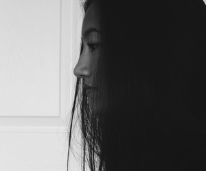 black and white, face, and sideways image