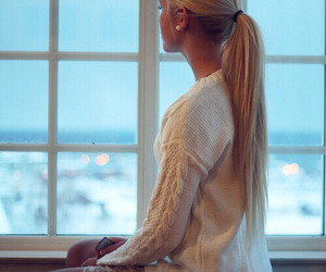 blond, pony tail, and straight image
