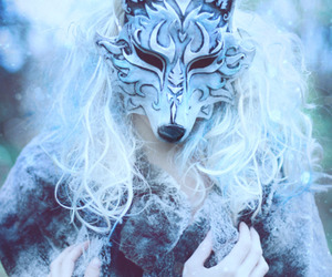 wolf, mask, and winter image
