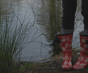 boots, girl, and pond image