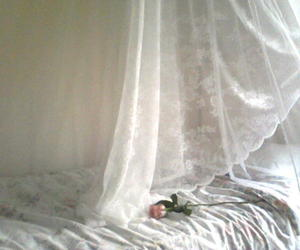 white, bed, and flower image