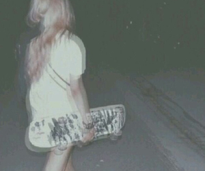 grunge, girl, and skateboard image