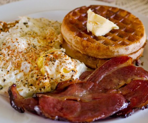 food, waffles, and bacon image