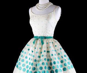 50s, dress, and blue polka dots image