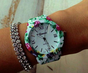 watch, flowers, and style image