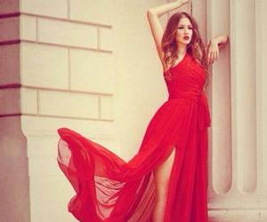 red, dress, and beauty image