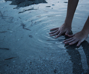 water, hands, and grunge image