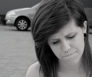 black & white, septum, and cry image
