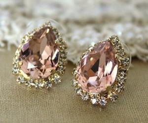 earrings, diamond, and pink image