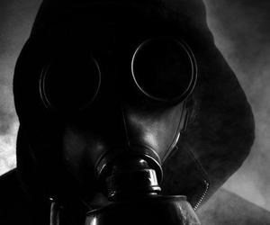 black and white, black & white, and gas mask image