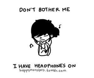 headphones, music, and don't bother me image