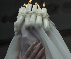 white, candle, and witch image