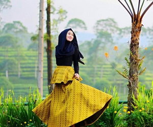 hijab, veil, and yellow image