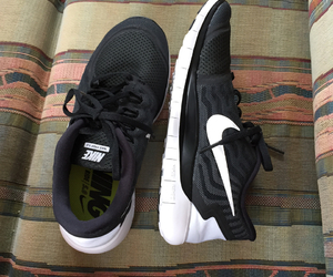 black and white, nike, and shoes image