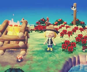 animal crossing, camping, and flowers image