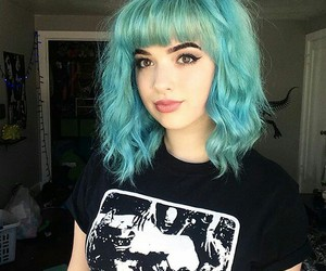 black, blue, and girl image