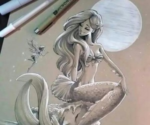 art, mermaid, and drawing image