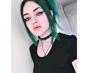 girl, green hair, and cherry amber image