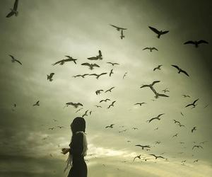 bird, girl, and sky image