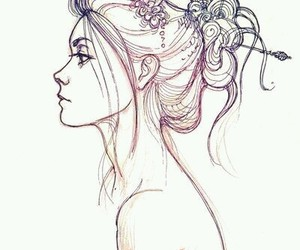 beauty, girl, and draw image