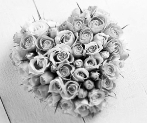 black and white, flowers, and heart image