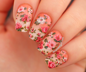 <3, nails, and flowers image