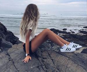 girl, adidas, and beach image