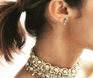brunette, expensive, and necklace image