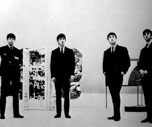 black and white and thr beatles image