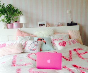bed, bedroom, and mac image