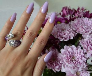 nails, flowers, and purple image