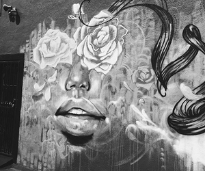 art, lips, and black and white image