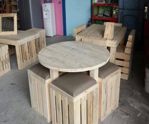 pallets furniture, pallets creations, and pallets wood creations image