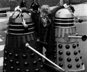 black and white, daleks, and doctor who image