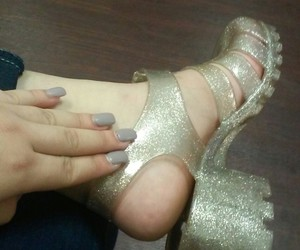 gold, nails, and jelly shoes image