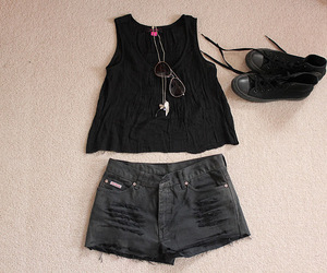 black, fashion, and distressed shorts image