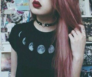 grunge, moon, and hair image