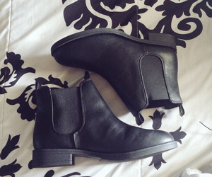 black and white, shoes, and chelsea boots image