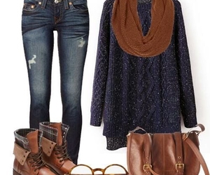 outfit, sweater, and boots image
