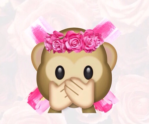 monkey, emoji, and pink image