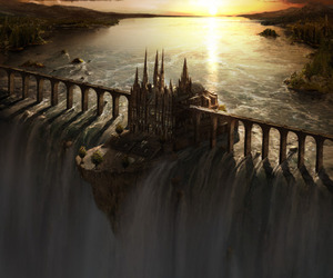 castle, waterfall, and fantasy image