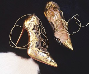 gold, heels, and shoes image