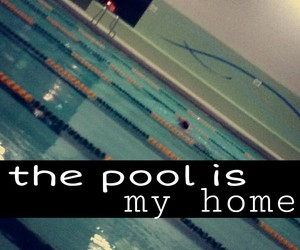home, pool, and swimmer image