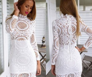 wedding dresses, white dresses, and long sleeve dresses image