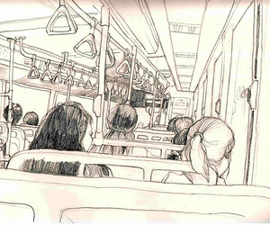 train, bus, and drawing image